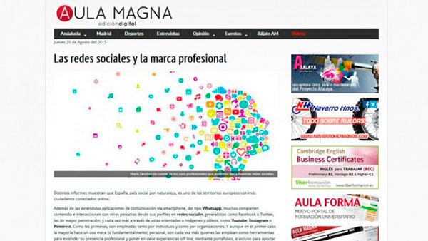 Artículo sobre uso profesional de redes sociales en Aula Magna