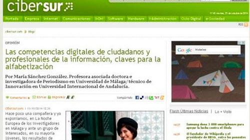 Artículo en Cibersur sobre competencias digitales como claves para la alfabetización