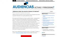 """Investigadora proyecto """"Audiencias activas y periodismo (…)"""""""