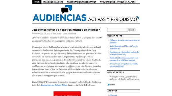 """Investigadora en Proyecto """"Audiencias activas y periodismo (…)"""""""