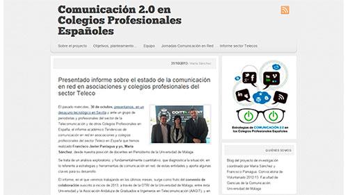 """Coordinadora grupo de investigación """"Estrategias de comunicación 2.0 en los Colegios Profesionales Españoles"""""""