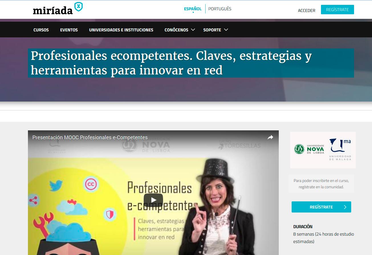 """¡¡Buenas noticias!! El curso MOOC """"Profesionales e-competentes…"""", que coordiné desde la UMA en colaboración con la Universidad Nova de Lisboa, primer premio del Grupo Tordesillas"""