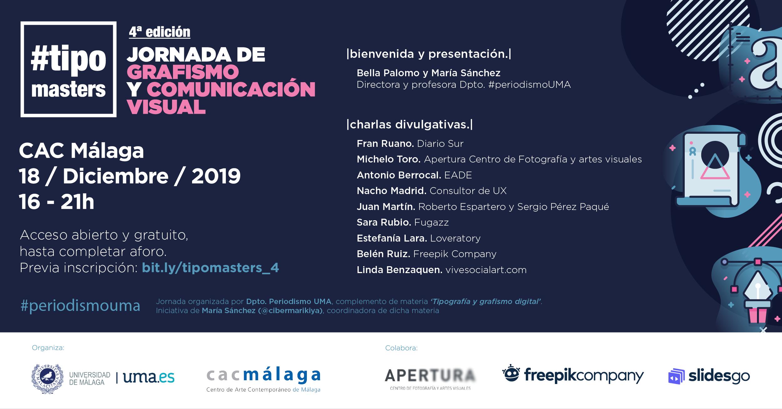 Cuarta edición de Tipomasters, jornada gratuita sobre grafismo y comunicación visual, el 18 de diciembre en CAC Málaga